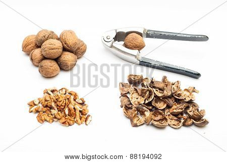 Group Of Walnuts With Cracker