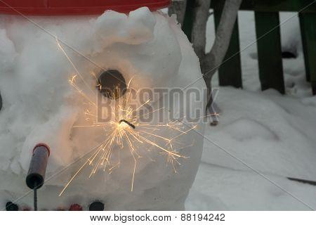 Snowman With Sparkler