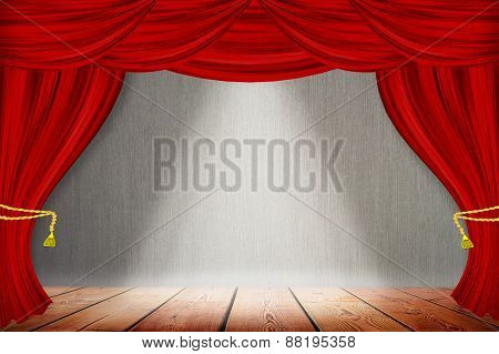 Red Curtains On Gray Wood Wall Background