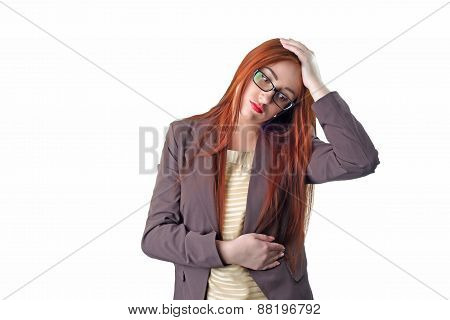 Young Redhead Business Woman With Headache Holding Her Hand To The Head