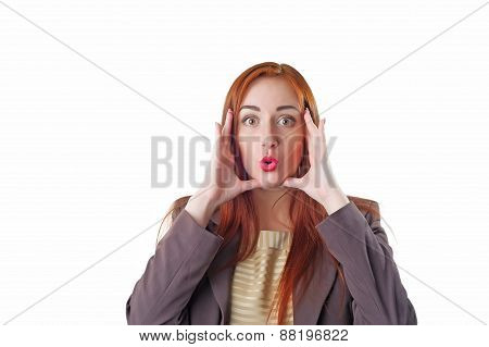 Amazed Redhead Business Woman