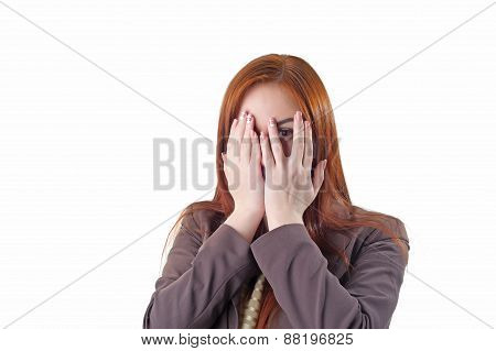 Redhead Woman Covering Her Face