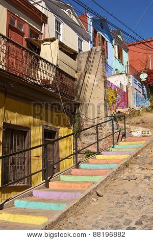 Colourful Street in Valparaiso
