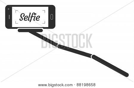 Monopod Selfie Portrait Smartphone App Vector Illustration