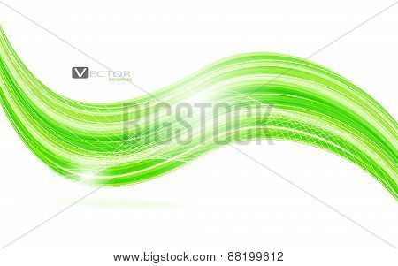 Abstract Green Waves - Data Stream Concept. Vector Illustration