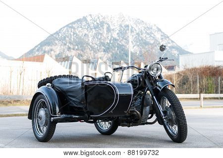 old black oldtimer motorcycle