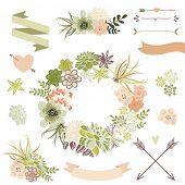 picture of terrarium  - Wedding graphic set with succulents - JPG