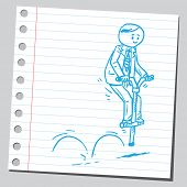 picture of bouncing  - Businessman bouncing on pogo stick - JPG