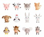 picture of animal husbandry  - farm animals vector set on white background - JPG