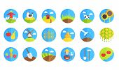 pic of husbandry  - farm and gardening vector icons on white background - JPG