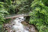 stock photo of pores  - Hanging Bridge And Waterfall at Poring Hot Spring - JPG