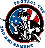 pic of musket  - graphic design illustration of an American revolutionary soldier with rifle flag with wording text protect the 2nd amendment - JPG