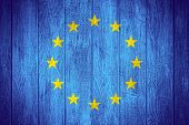 stock photo of european  - European Union flag or European banner on wooden boards background - JPG