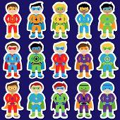 image of superhero  - Set of Boy Superheroes in Vector Format - JPG