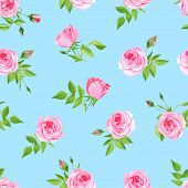 picture of blue rose  - Vintage delicate blue seamless vector print - JPG
