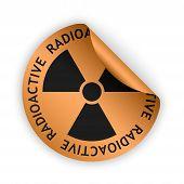 stock photo of radioactive  - vector bronze bent sticker with black radioactive sign - JPG
