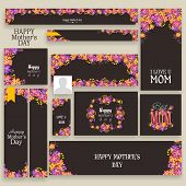 stock photo of special day  - Beautiful floral design decorated social media or marketing header or banner set for Happy Mother - JPG