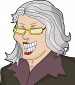 image of hysterics  - Laughing businesswoman with gray hair laughing hysterically - JPG