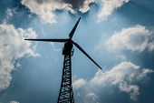 stock photo of wind-vane  - The wind turbine generator the renewable energy - JPG