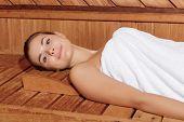 stock photo of sauna woman  - Wellness practice - JPG