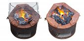 image of brazier  - Charcoal brazier with cooking fire on cement ground - JPG