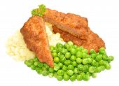 picture of mashed potatoes  - Crispy battered pork luncheon meat fritters with mashed potato and mushy peas isolated on a white background - JPG