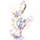stock photo of clefs  - Music Background With Treble Clef Decorated By Flowers - JPG