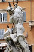 Marble Fountain in Navona Square, Rome (Italy)