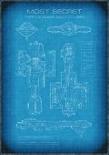 picture of top-secret  - Science fiction illustration of top secret spaceship blueprint with designs and text - JPG