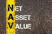 picture of asset  - Business Acronym NAV - Net asset value. Yellow paint line on the road against asphalt background. Conceptual image - JPG