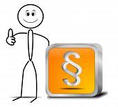 stock photo of stickman  - decorative stickman with orange law paragraph button - JPG