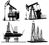 stock photo of derrick  - oil derrick and gas rigg silhouette set - JPG
