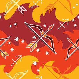 picture of sagittarius  - Vector seamless pattern with Sagittarius astrology symbols - JPG