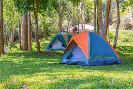 stock photo of bans  - Dome tents camping at Bang Krang Camp in Kaeng Krachan National Park - JPG