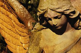 pic of headstones  - angel as a symbol of faith kindness and love - JPG
