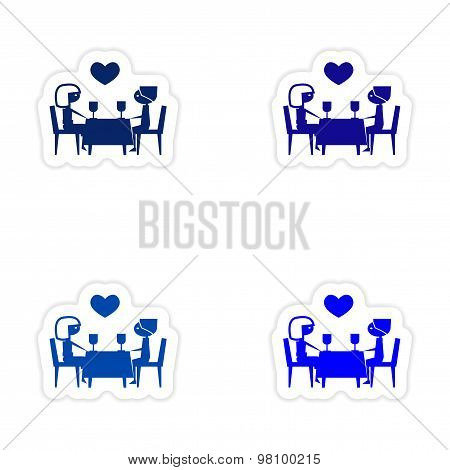 assembly realistic sticker design on paper romantic date