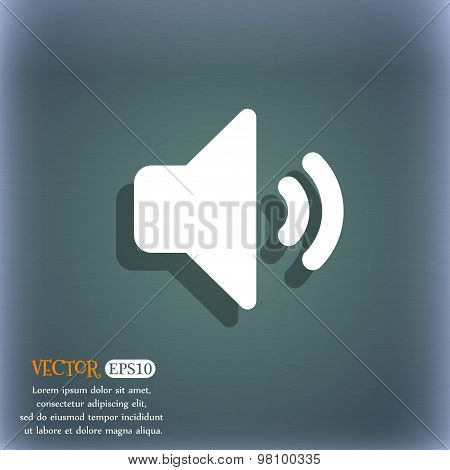 Speaker Volume, Sound  Icon Symbol On The Blue-green Abstract Background With Shadow And Space For