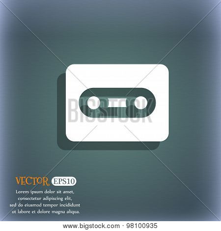 Cassette  Icon Symbol On The Blue-green Abstract Background With Shadow And Space For Your Text. Vec