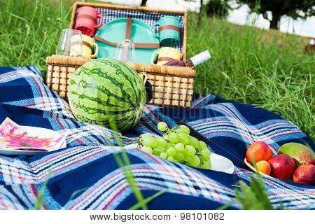 Picnic blanket and basket