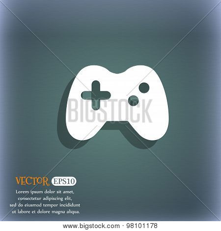 Joystick  Icon Symbol On The Blue-green Abstract Background With Shadow And Space For Your Text. Vec