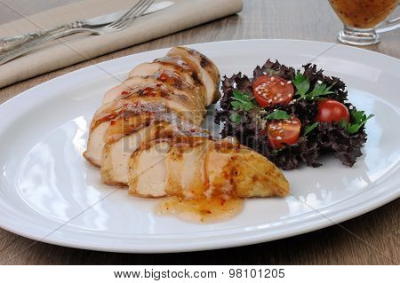 Slices Of Chicken Fillet With Sauce