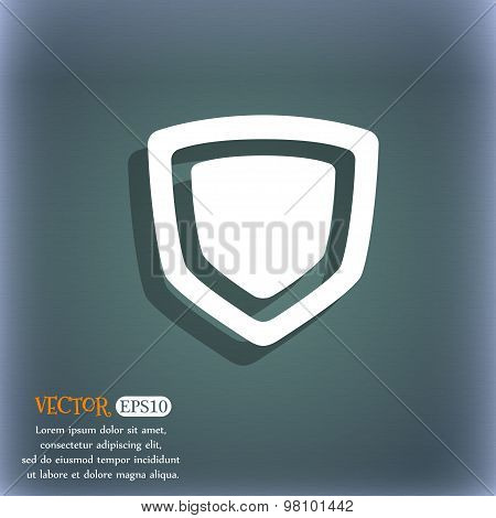 Shield  Icon Symbol On The Blue-green Abstract Background With Shadow And Space For Your Text. Vecto