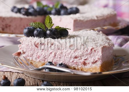 Piece Of Delicious Blueberry Cheesecake With Coconut Macro