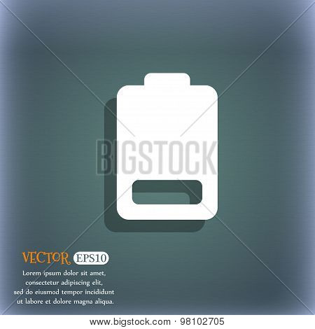 Battery Low Level, Electricity  Icon Symbol On The Blue-green Abstract Background With Shadow And