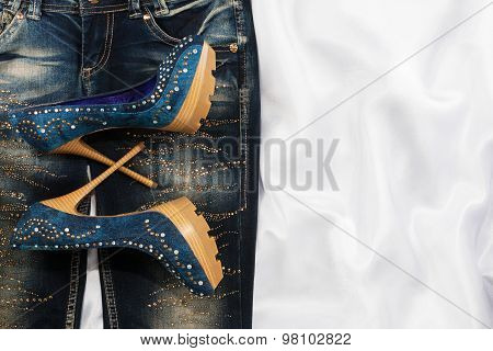 Glamorous Women's Fashion, Jeans, Shoes In Rhinestones