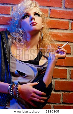 Beautiful Blonde Girl Smoking