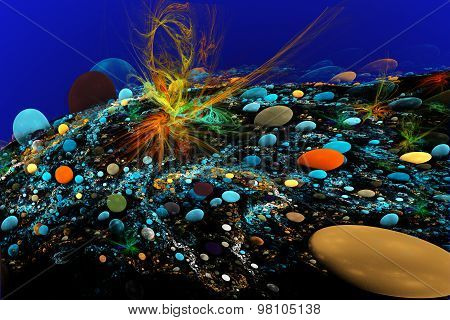 Fractal Illustration Of The Seabed With Colorful Stones And Seaw
