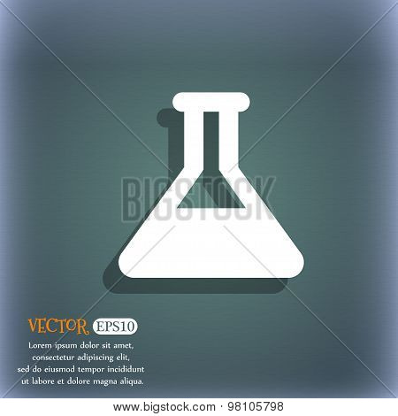 Conical Flask  Icon Symbol On The Blue-green Abstract Background With Shadow And Space For Your Text