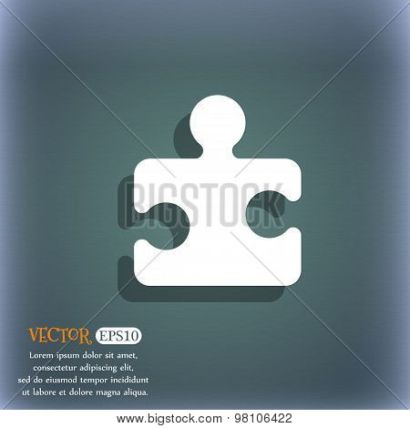Puzzle Piece  Icon Symbol On The Blue-green Abstract Background With Shadow And Space For Your Text.