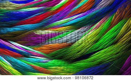 Fractal Illustration Of Rainbow Colored Background Knitted Weave